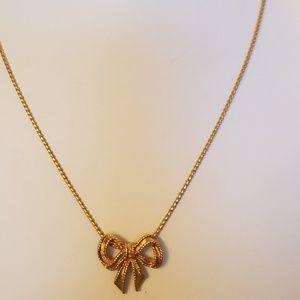 "VTG Avon Circa 1976 Gold Plated Bow Necklace 16"""